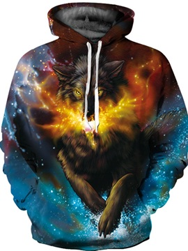 Fashion Long Sleeve Stars Wolf Pattern 3D Painted Hoodie