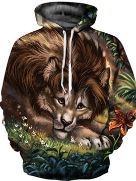 Cool Design Loose Model Pullover Kangaroo Pocket 3D Painted Hoodie