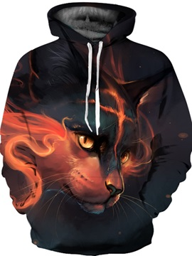 Funny Cat Unisex Pullover Realistic Graphic Athletic 3D Painted Hoodie