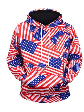 Flag Pattern Clear Print Workout Casual Style 3D Painted Hoodie