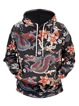 Lightweight Pullover Clear Print Casual Style 3D Painted Hoodie