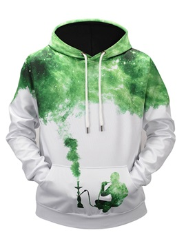 Cool Digital Graphic Kangaroo Pocket Workout Pullover 3D Painted Hoodie
