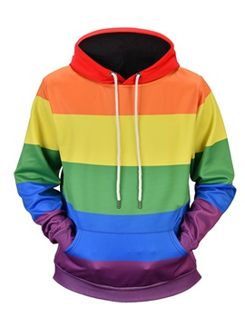 Vivid Color Casual Style Kangaroo Pocket Pullover 3D Painted Hoodie