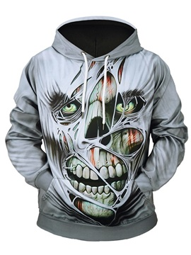 Skull Pattern Realistic Casual Style Lightweight Vibrant Color 3D Painted Hoodie
