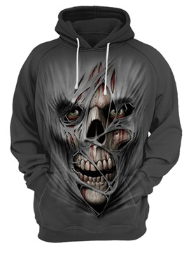 Halloween Casual Style Polyester Kangaroo Pocket 3D Painted Hoodie