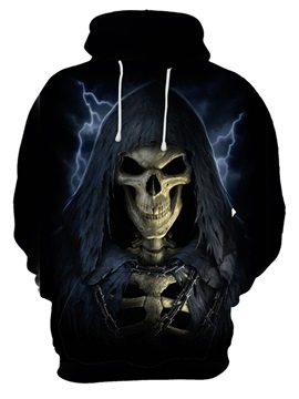 Halloween Athletic Kangaroo Pocket Long Sleeve 3D Painted Hoodie