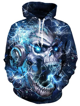 Skull Halloween Athletic Casual Style Loose Model 3D Painted Hoodie