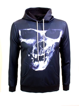 Skull Halloween Loose Model Pullover Bright Color 3D Painted Hoodie