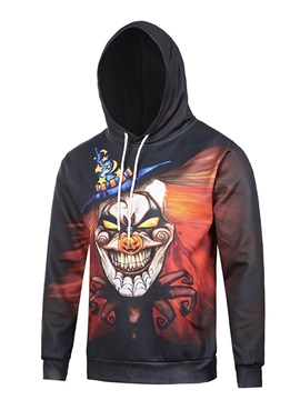 Funny Design Halloween Casual Style Polyester Kangaroo Pocket 3D Painted Hoodie
