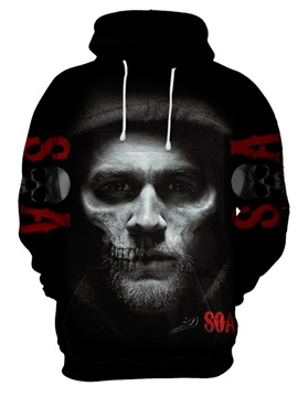 Unisex Skull Pattern Printed Realistic Casual Style 3D Painted Hoodie