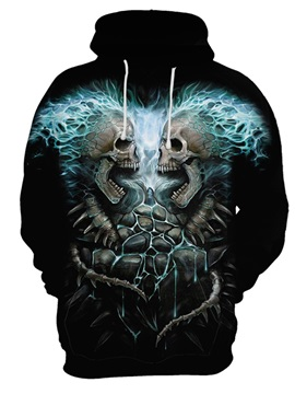 Skull Halloween Lightweight Polyester Casual Style 3D Painted Hoodie