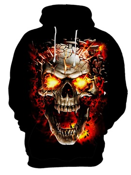 Halloween Skull Pullover Loose Model Realistic 3D Painted Hoodie
