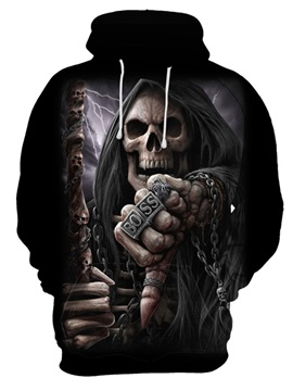 Skull Polyester Loose Model Vibrant Color 3D Painted Hoodie