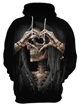 Causal Style Skull Long Sleeve Polyester Halloween 3D Painted Hoodie