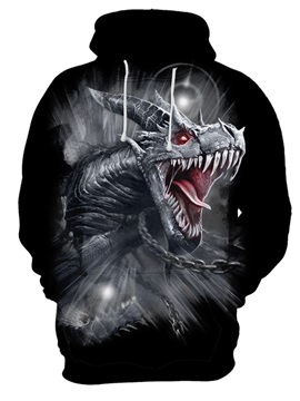 Loose Model Athletic Pullover Lightweight Polyester 3D Painted Hoodie