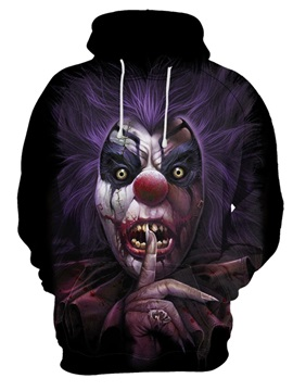 Long Sleeve Loose Model Cool Design Realistic Skull 3D Painted Hoodie