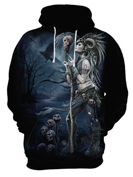 Loose Model Printed Pattern Polyester Pullover 3D Painted Hoodie