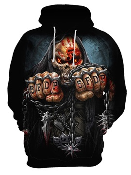 Pullover Skull Halloween Polyester Lightweight 3D Painted Hoodie