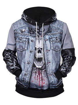 Skull Polyester Lightweight Athletic Vivid Color 3D Painted Hoodie