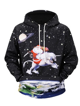 Polyester Loose Model Casual Style Pullover Fastness 3D Painted Hoodie