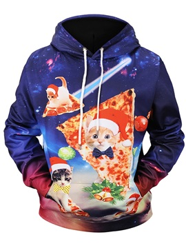 Pullover Kangaroo Pocket Loose Model Printed Cat 3D Painted Hoodie
