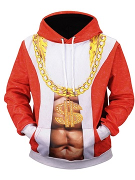 Casual Style Christmas Lightweight Pullover Vivid Color 3D Painted Hoodie