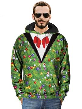 Loose Model Pullover Kangaroo Pocket Casual Style 3D Painted Hoodie