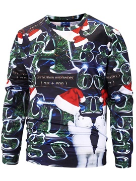 Unisex Loose Model Polyester Long Sleeve Casual Style 3D Painted Hoodie