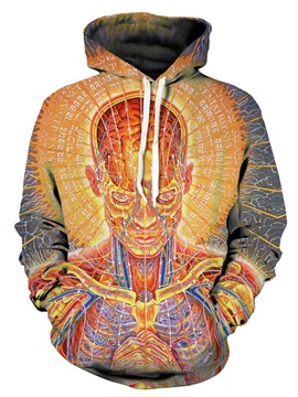Pullover Workout Loose Model Kangaroo Pocket 3D Painted Hoodie