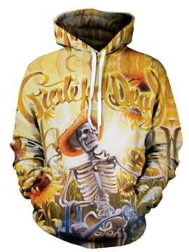 Happy Skull Sunflowers Long Sleeve Polyester Lightweight 3D Painted Hoodie