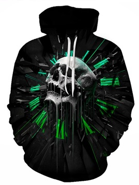 Skull Halloween Long Sleeve Polyester Unisex Kangaroo Pocket 3D Painted Hoodie