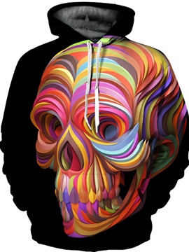 Colorful Skull Unisex Pullover Kangaroo Pocket 3D Painted Hoodie