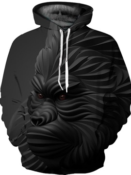Pullover Lightweight Kangaroo Pocket Athletic 3D Painted Hoodie