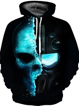 Skull Workout Lightweight Loose Model Pullover 3D Painted Hoodie