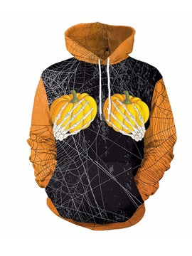 Pumpkin and Spider Web Pullover Polyester 3D Painted Hoodie