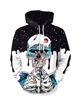 Skull and Pour the Milk Pattern Loose Model 3D Painted Hoodie
