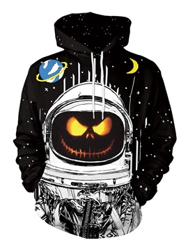 Spacesuit and Halloween Pumpkin Long Sleeve 3D Painted Hoodie