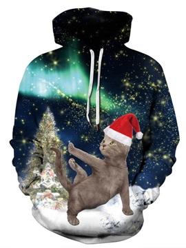 Loose Model Pullover Christmas Kangaroo Pocket 3D Painted Hoodie