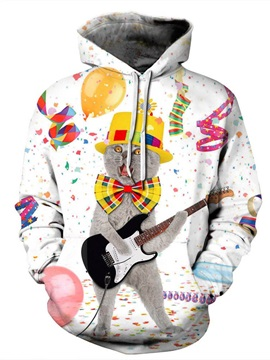 Casual Style Pullover Unisex Kangaroo Pocket 3D Painted Hoodie