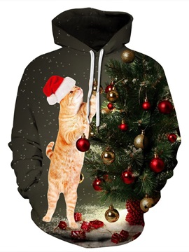 Pullover Christmas Lightweight Polyester Casual Style 3D Painted Hoodie