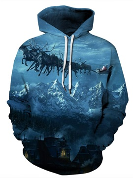 Loose Model Pullover Athletic Christmas 3D Painted Hoodie