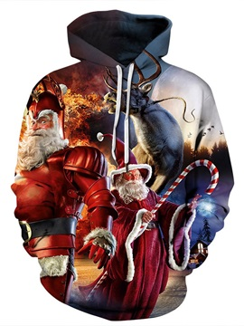 Christmas Loose Model Casual Style Unisex 3D Painted Hoodie