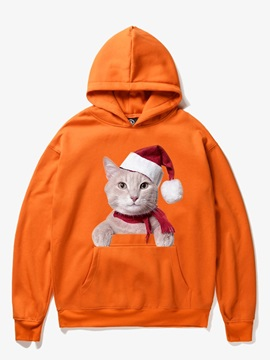 Christmas Loose Model Fleece Pullover 3D Painted Hoodie