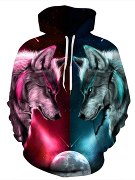 Cool Wolves Loose Model Pullover Kangaroo Pocket 3D Painted Hoodie