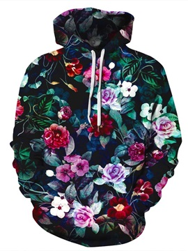 Flowers Loose Model Pullover Lightweight Unisex 3D Painted Hoodie
