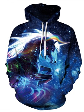 Unicorn Lightweight Pullover Loose Model Kangaroo Pocket 3D Painted Hoodie