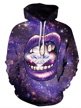 Cool Pattern Lightweight Pullover Kangaroo Pocket 3D Painted Hoodie