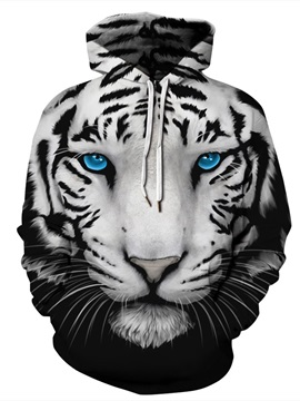 Cool Tiger Loose Model Pullover Kangaroo Pocket 3D Painted Hoodie