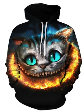 Funny Cat Pullover Unisex Loose Model Athletic 3D Painted Hoodie