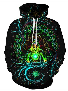 Pullover Clear Print Bright Color Loose Model 3D Painted Hoodie